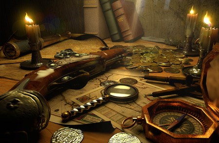 monete antiche: accessori di pirata su un tavolo