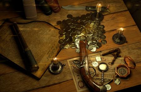 monete antiche: accessori di pirata su un tavolo con vista a testa