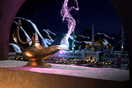 Magic lamp with panoramic view of sultan's palace