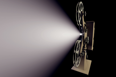 3D illustration of retro film projector with light beam isolated on black
