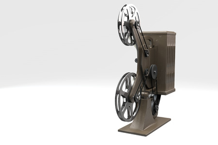 film projector: 3D illustration of retro film projector isolated on white Stock Photo