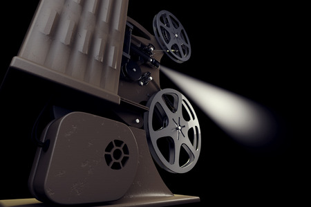 film projector: 3D illustration of retro film projector with light beam isolated on black