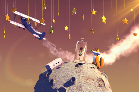 3D illustration of fairytale The Little Prince 版權商用圖片