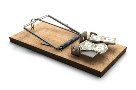 mousetrap: 3D illustration of Mousetrap with money isolated on white