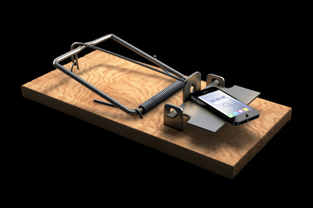 mousetrap: 3D illustration of Mousetrap with phone isolated on black Stock Photo