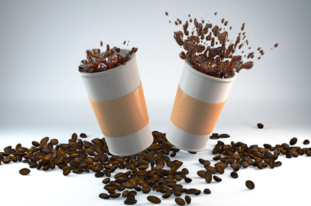 vivacity: 3D illustration of two paper cups of coffee with coffee beans Stock Photo