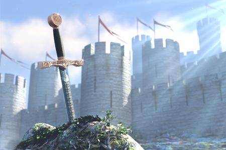 anvil: 3D illustration of legend about king Arthur