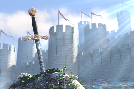 3D illustration of legend about king Arthur