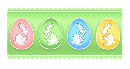 comely: Easter eggs with bunnies and green background