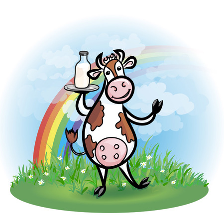 Funny cow holding bottle of milk   Funny character offers milk  Background consists of a lawn with grass, blue sky with clouds and rainbow Vector