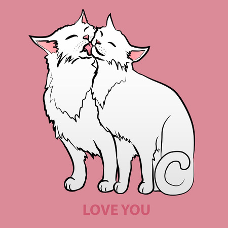 Two white cats Vector