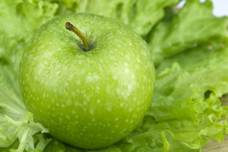 Green apple on lettuce
