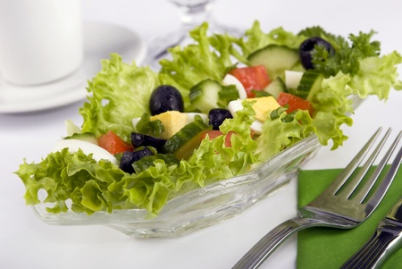 Fresh Greek salad on a platter
