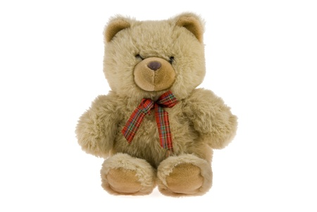 Teddy Bear with red ribbon on white background Zdjęcie Seryjne