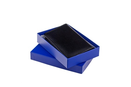 A photograph of a business card holder against a white background