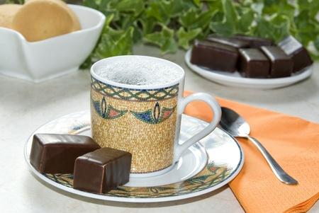 Coffee with chocolate, biscuits Zdjęcie Seryjne - 9664933