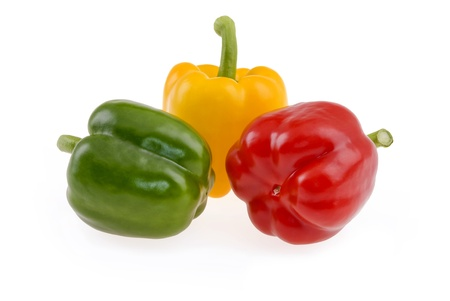 Green,yellow and red paprika isolated on white background Zdjęcie Seryjne