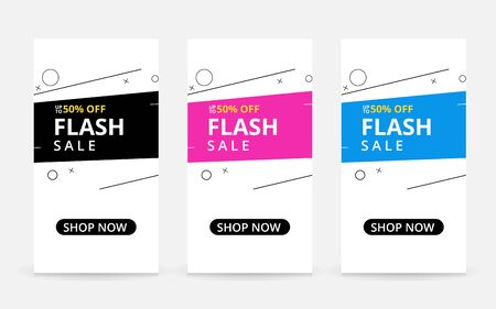 Set of flash sale banners with dynamic modern shapes concept. special offer and sale banner discount up to 50% template design