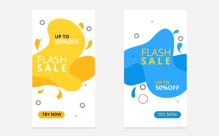 Set of flash sale banners with dynamic modern liquid mobile concept. special offer and sale banner discount up to 50% template design