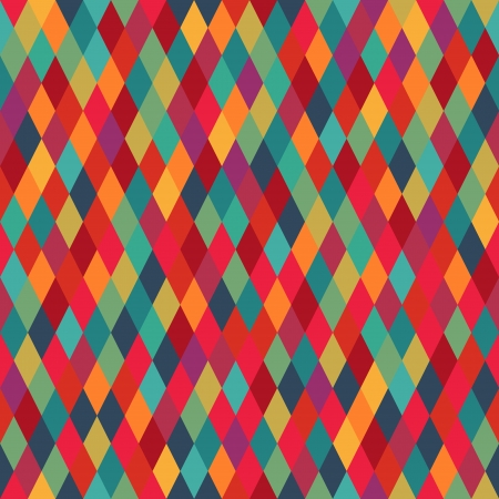 Colorful diamond tiles seamless vector pattern