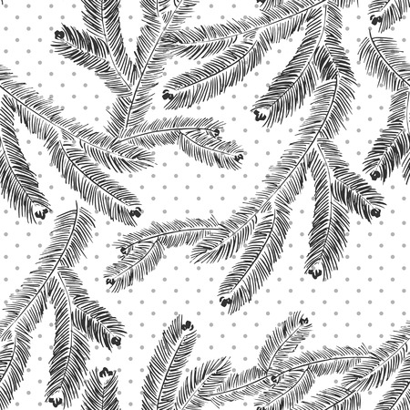 Vector seamless pattern with pine branches  Vector