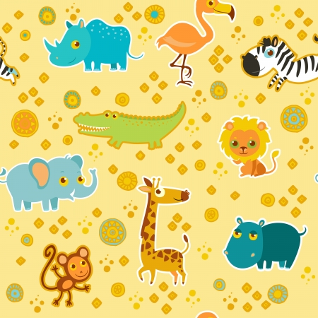 African cartoon animal vector seamless pattern. Vector