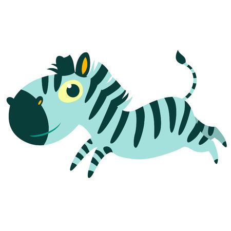 African cartoon animal isolated vector character. Zebra. Illustration
