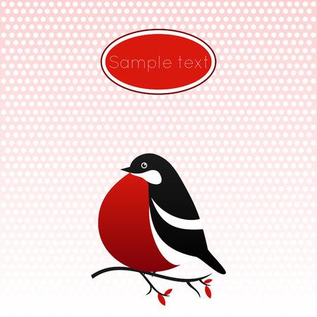 bullfinch: Bullfinch vector card. Illustration