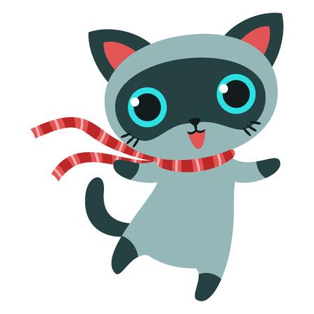 Carácter Gato en bufanda de rayas, ilustración vectorial. Foto de archivo - 24577879