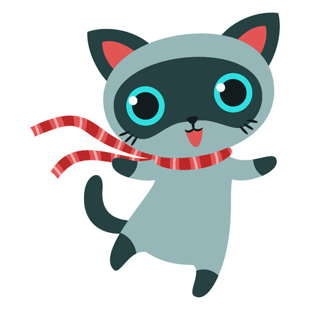 Cat character in striped scarf isolated vector illustration.