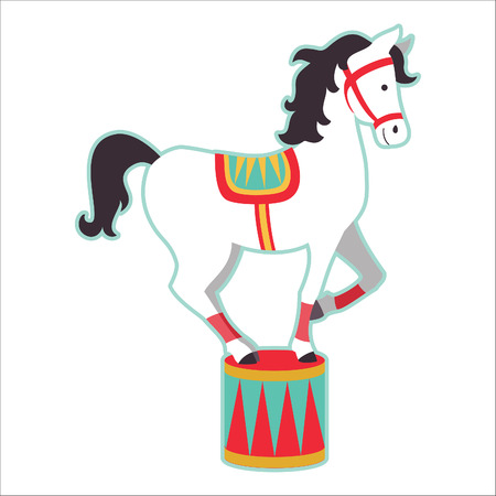 Retro circus animal isolated vector character. Horse. Stock Illustratie