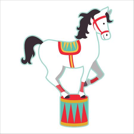 Retro circus animal isolated vector character. Horse. Иллюстрация
