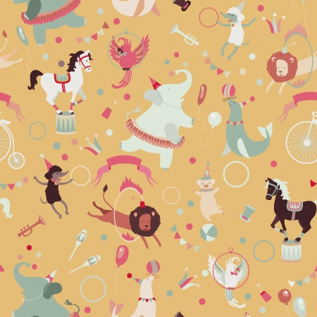 poodle: Retro circus seamless vector pattern.