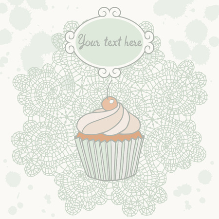 laced: Cupcake vector illustration on laced background. Illustration
