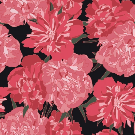 Red peony vector seamless pattern. Illustration