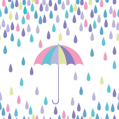 Umbrella and raindrop seamless vector pattern.
