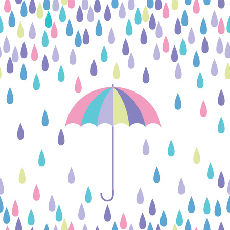 Umbrella and raindrop seamless vector pattern.