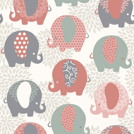 thai elephant: Cute colorful elephants seamless vector pattern.