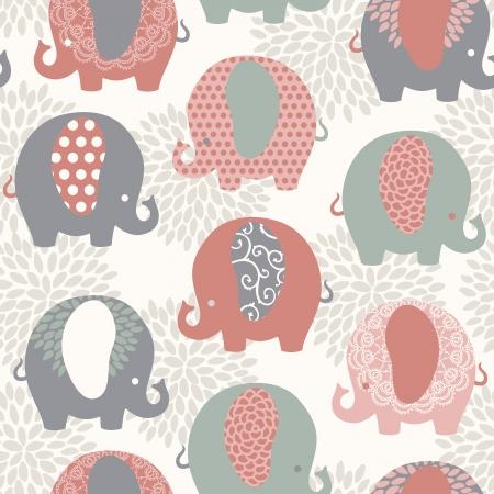 Elefantes coloridos lindos sin costura patrón vector. Foto de archivo - 24577898