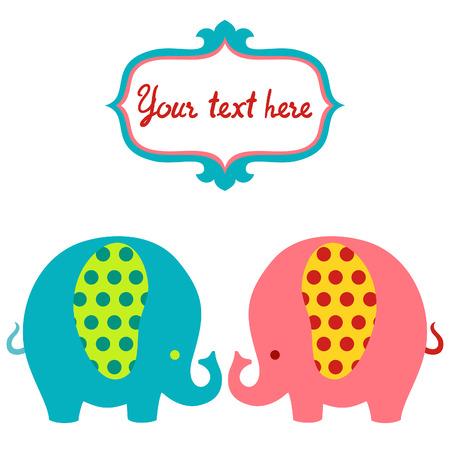 Cute cartoon colorful elephants vector card.