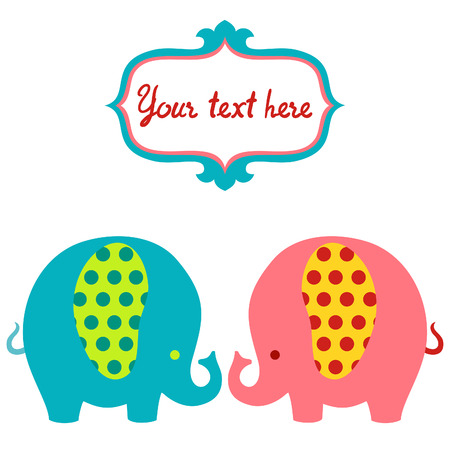 Cute cartoon colorful elephants vector card.