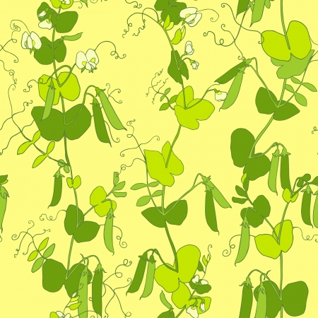 Green peas vector seamless pattern. Vector