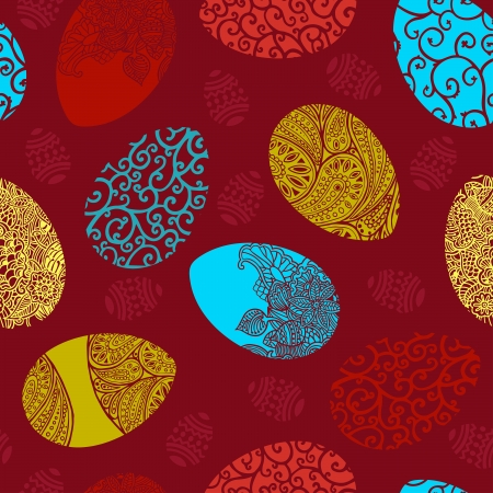 Easter egg on red background seamless pattern. Vector