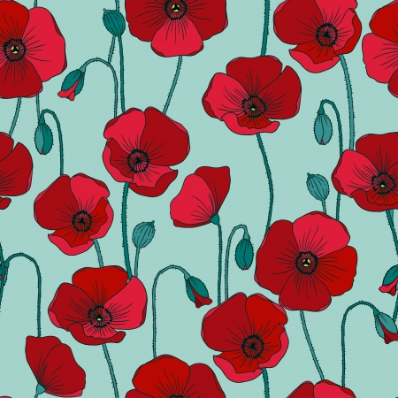 Poppies vector seamless pattern.
