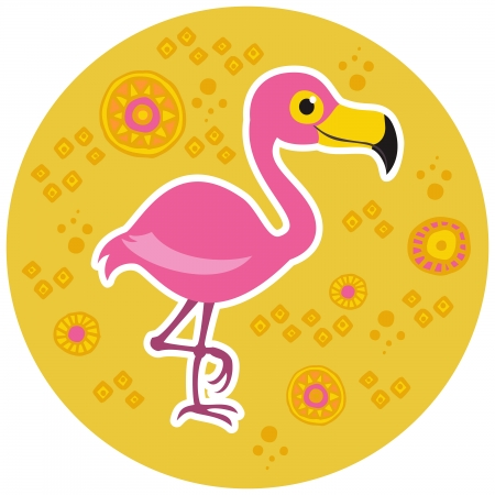 African cartoon animal vector character. Flamingo. Vector