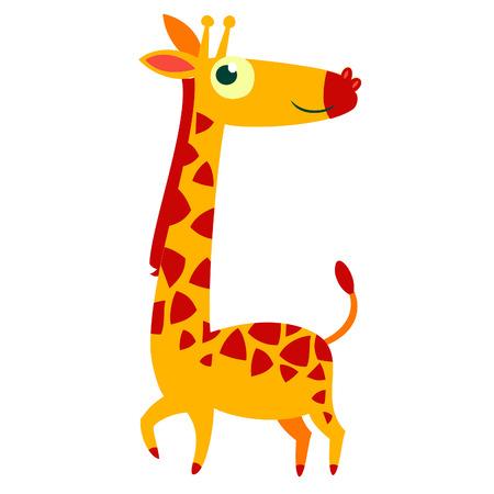 jirafa caricatura: Aislado dibujos animados de animales africanos car�cter vectorial. Jirafa.