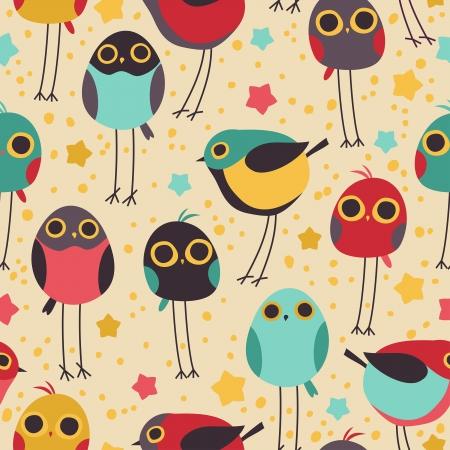 Cute little bird seamless vector pattern.
