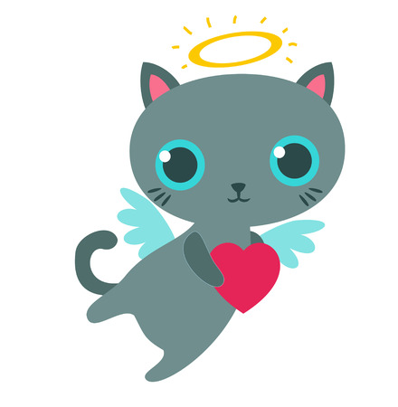 Angel cat with heart isolated vector illustration.