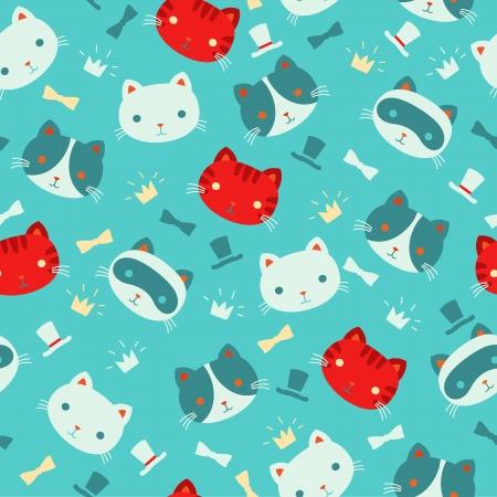 Cute cartoon cats vector seamless pattern.