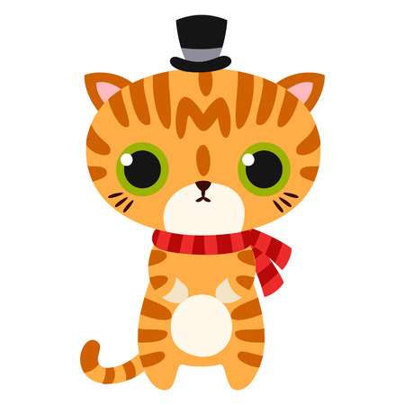 Cartoon cat isolated vector illustration.